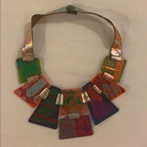Acrylic multicolor bib necklace
